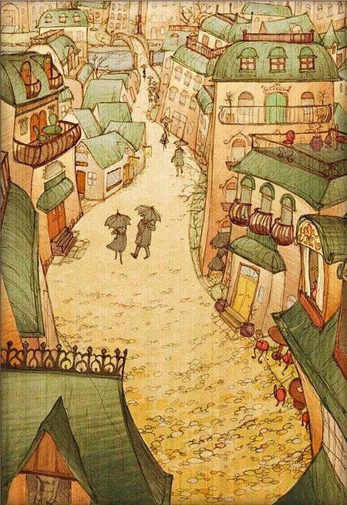 Cobblestones - 8x12 Fantasy Victorian Art Print Signed. $16.00, via Etsy.
