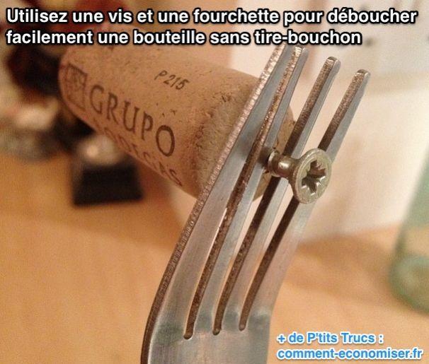 Utilisez une vis et une fourchette pour déboucher facilement une bouteille sans tire-bouchon