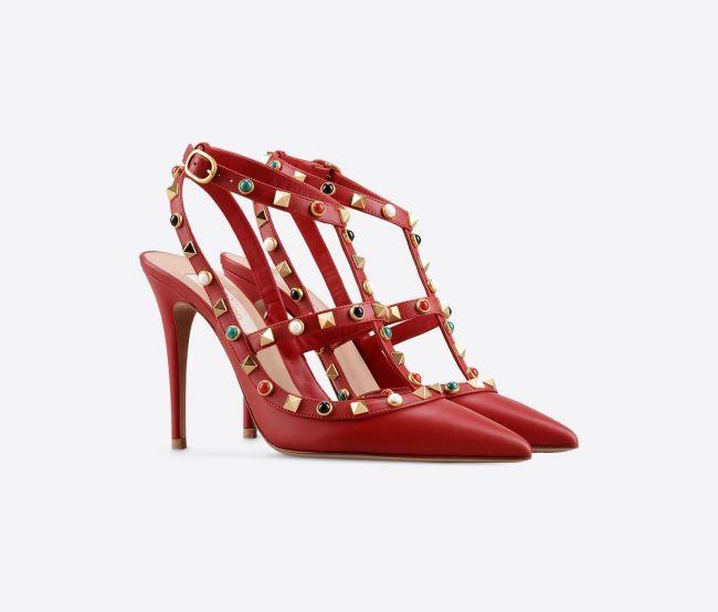 Rockstud rolling ankle strap, Valentino.