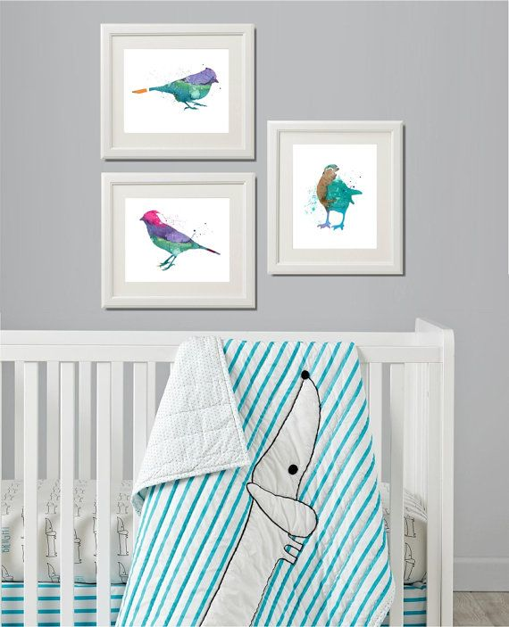 Set of Three Birds Nursery Art Nursery Birds Prints by QPrints