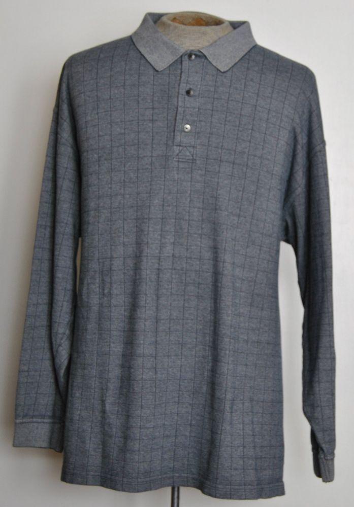 Greg Norman Mens Size 2xl Gray Plaid 100 Cotton Long