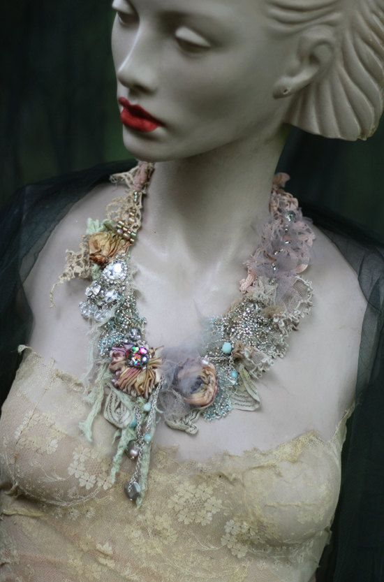 Luna necklace delicate shabby chic embroidered by FleursBoheme