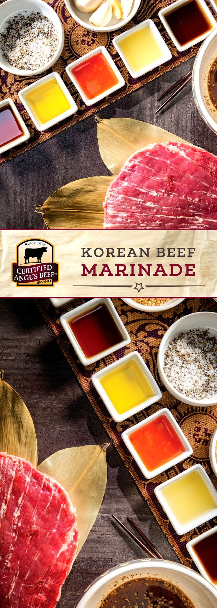 Certified Angus Beef®️️ brand Korean Beef Marinade combines mirin, orange juice, sweet chili sauce, and other DELICIOUS flavors for an unforgetable marinade! Bring out FRESH flavors in your favorite cut of beef with this tasty mix of seasonings.  #bestangusbeef #certifiedangusbeef #marinade #seasoning