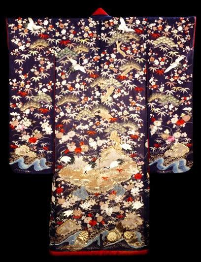 Kimono | V and A Museum.  Kimono Japan 1870-1900 Crepe silk, with embroidery, and free-hand paste-resist (yuzen) and stencilled (kata kanoko) designs.