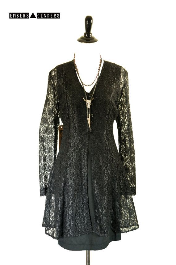 "Vintage ""Fairies Wear Boots"" Black Lace Dress And Jacket Bohemian"