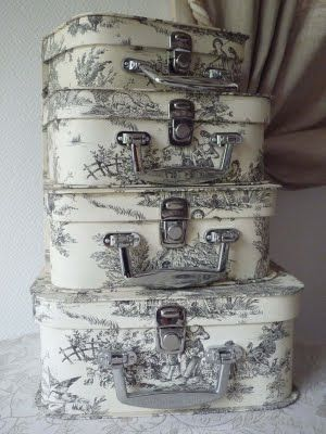 Oh my, want to find some vintage luggage and get some fabric and decoupage some of these {Toile de Jouy}