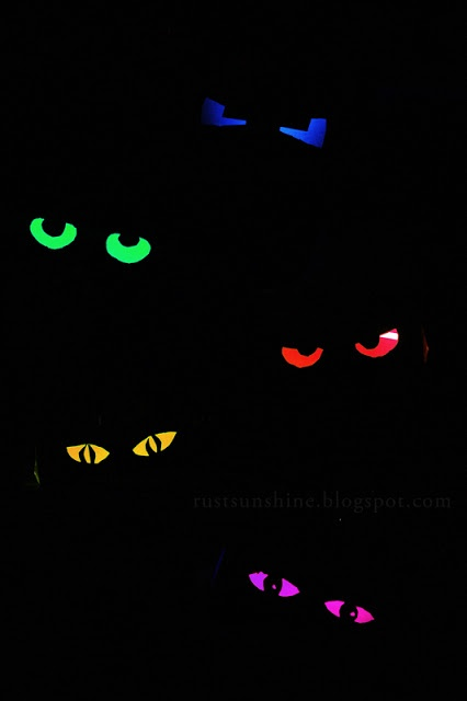 DIY Glowing Eyes by rusunshine: Easy fun with glow sticks and paper towel rolls. #Kids #Crafts #Glowing_Eyes