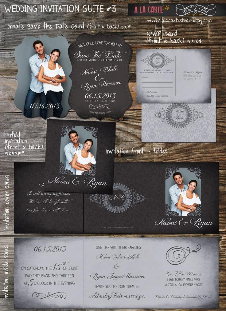watch wedding invitation movie online eng sub%0A Tri folded Chalkboard Damask  Save the Date  u     Wedding Invitation Suite   RSVP Card  Complete Wedding Suite