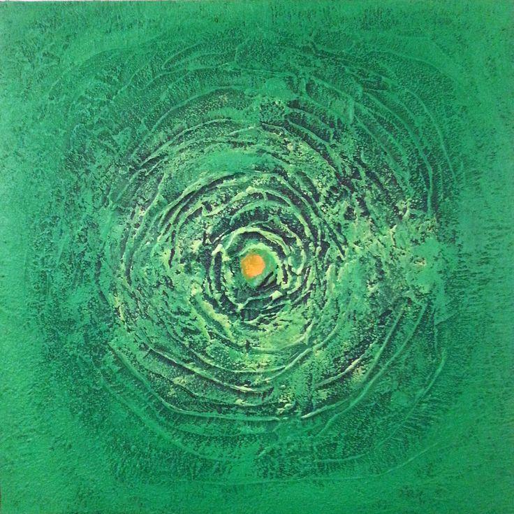 """Verde - Mandala"" - tecnica mista su tela, 60x60cm di Roberta Recanatesi - www.robertarecanatesi.com - robyrer@libero.it"