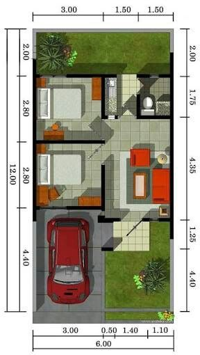 Denah Rumah 6x12 Pin Oleh Mella Rima Di Design_plan_section_structure