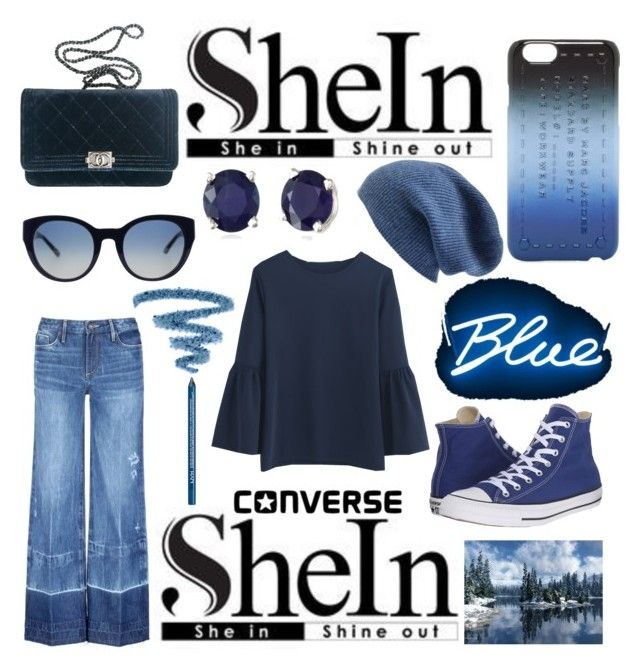 """""""SheIn: WIN! Navy Bell Round Neck T-Shirt"""" by mandimwpink ❤ liked on Polyvore featuring Chanel, Effy Jewelry, Marc by Marc Jacobs, Tortoise, Seletti, Yves Saint Laurent, Converse, Halogen, Tory Burch and NYX"""