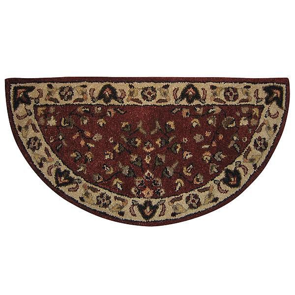 Red Floral Hand-Tufted Wool Hearth Rug