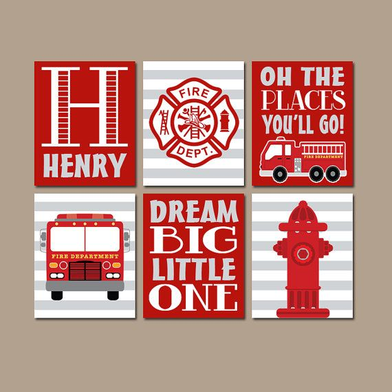 FIRE TRUCK Wall Art CANVAS or Prints Baby Boy Nursery Art
