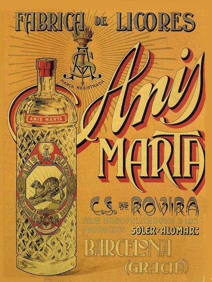 Publicidad de f brica de licores de barcelona a os 40 espa a vintage pinterest barcelona - Carteles publicitarios antiguos ...