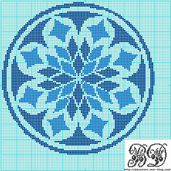 Cross-stitch Christmas ornament pattern: Blue