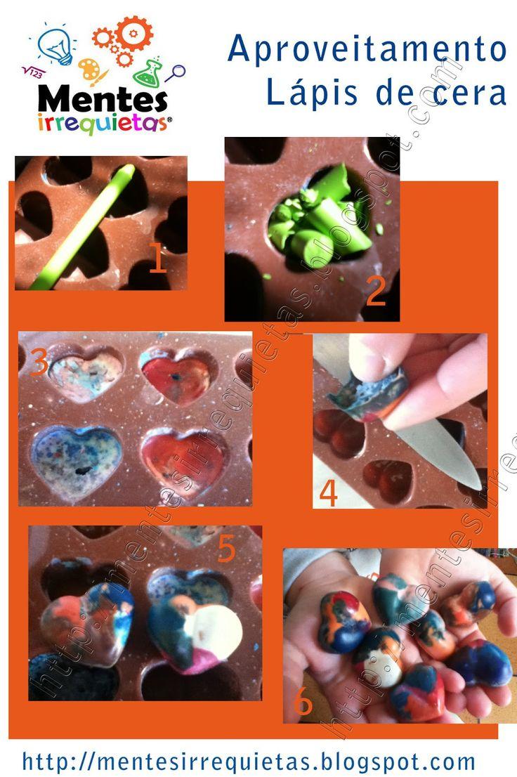 Lápis de cera reciclados