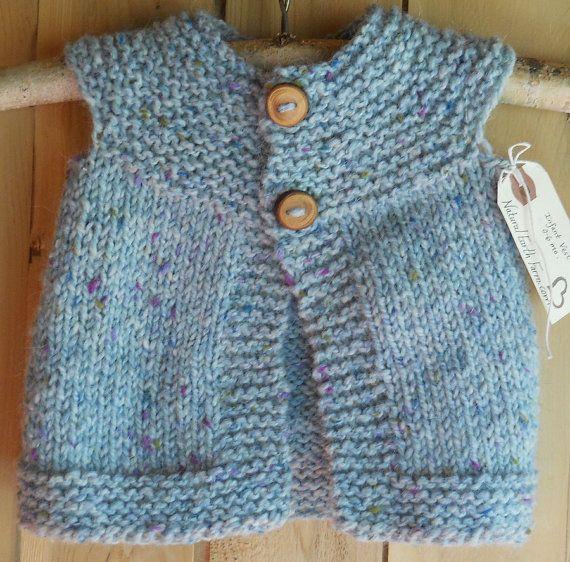 Hand Knit Infant Vest Size 0 6 Months by NaturalEarthFarm