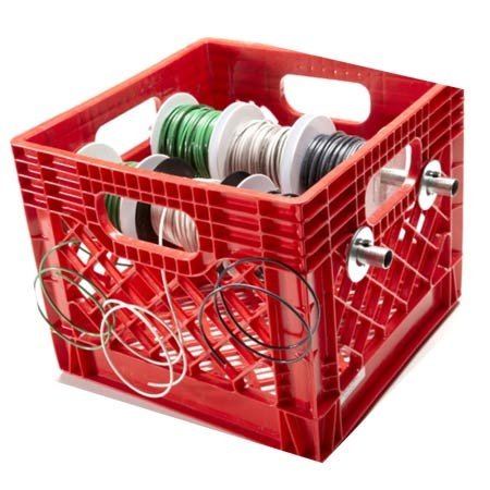 Organize wire spools (and can think of more possible applications.) Gotta love The Family Handyman!