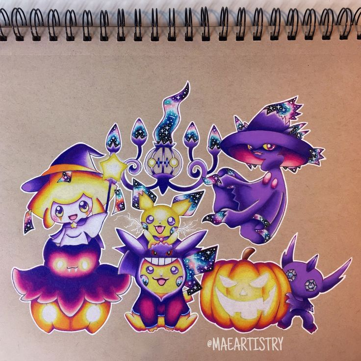 Hey guys! Here's the finished Pokemon Halloween piece  ________ ‣ instagram.com/maeartistry