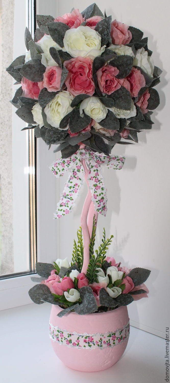 Купить топиарий Нежность - комбинированный, флористика, цветочная композиция, подарок, интерьерная композиция, ткань, цветы