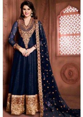 bleu marine couleur banglori costume Anarkali de soie, - 103,00 €, #Robebollywood #Robepakistanaise #Robepakistanaisepascher #Shopkund