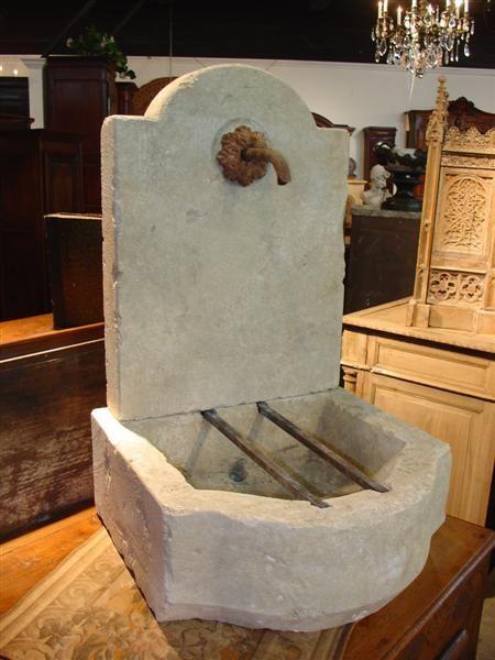 Small Carved Limestone Fountain from France