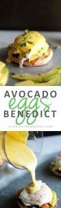 Avocado Eggs Benedict   Shake up your brunch routine with this easy eggs Benedict recipe! Complete with fresh, creamy avocado, crispy bacon, and tangy goat cheese for a fun twist on this classic breakfast recipe. Made with a foolproof blender hollandaise sauce!