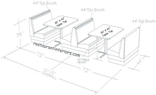 Dimensions of booth seating which I was looking at but decided against due to taking up to much space and being hard to play from Restaurant Booths Space Requirement