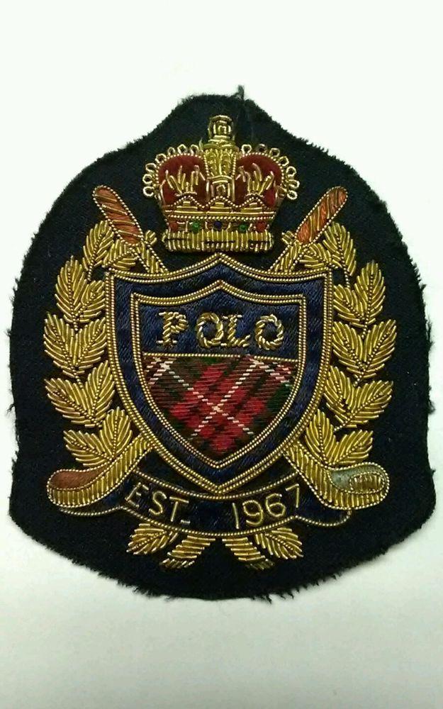 SUPER Rare EARLY Vintage Polo Ralph Lauren GOLF Wire Crown Crest Patch *UNUSED* #RalphLauren