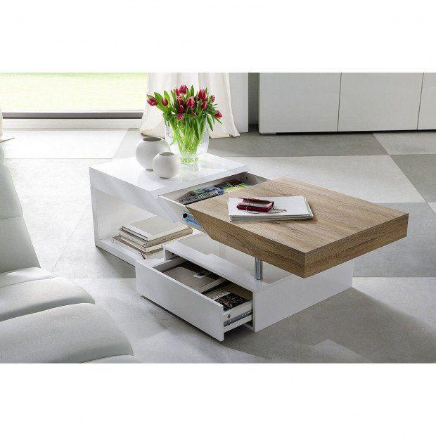 Table Basse Avec Rangement Coloris Blanc Laque Et Bois En 2020