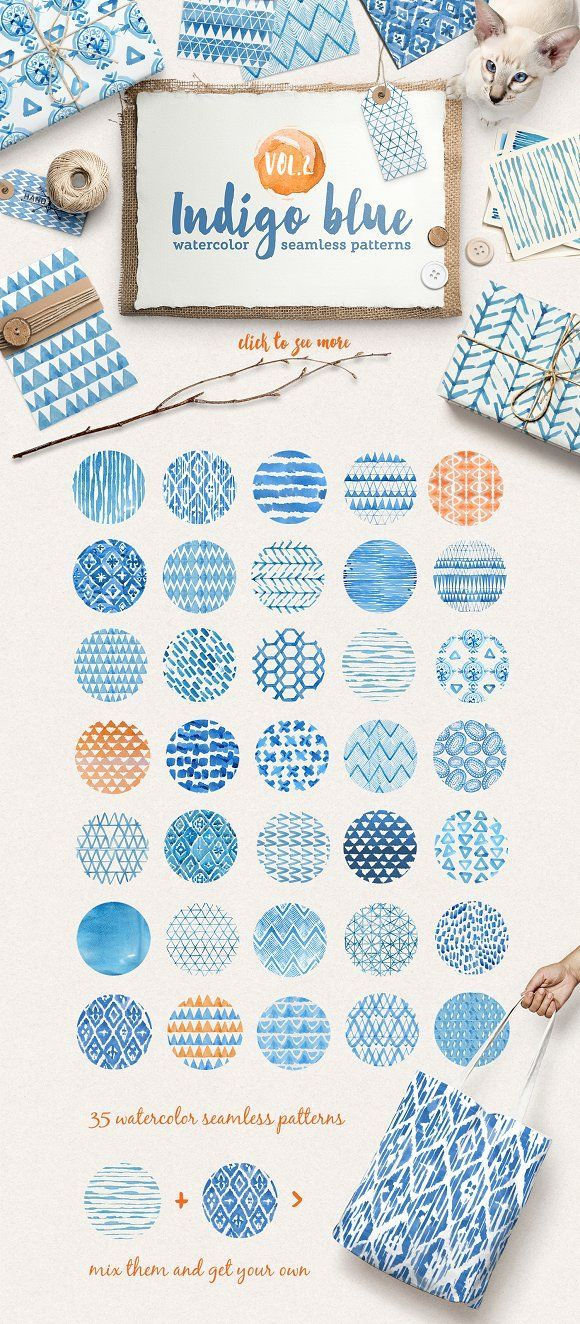 Indigo watercolour patterns pack - Patterns Introducing Volume 2 of the my new handy watercolor patterns collection! Set of 36 lovely indigo blue watercolor seamless patterns. Perfect for branding, websites, digital media, packaging design, greetings, invites, weddings, apparel, merchandise designs, scrapbooking, home decor (pillows, towels, napkins), fashion and so much more.