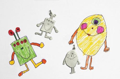 Monster, Roboter & Co. werden zum individuellen Kritzelsilber-Schmuckstück