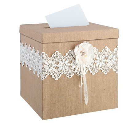 Lillian Rose Rustic Burlap and Lace Card Box