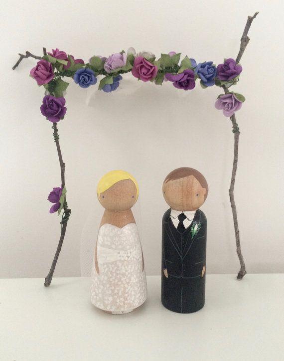 Wedding Cake Topper Custom Peg Dolls Wooden