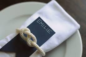 Nautical theme napkin holders - tying the knot!