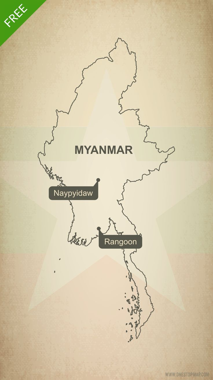 Free Vector Map of Myanmar Outline 227