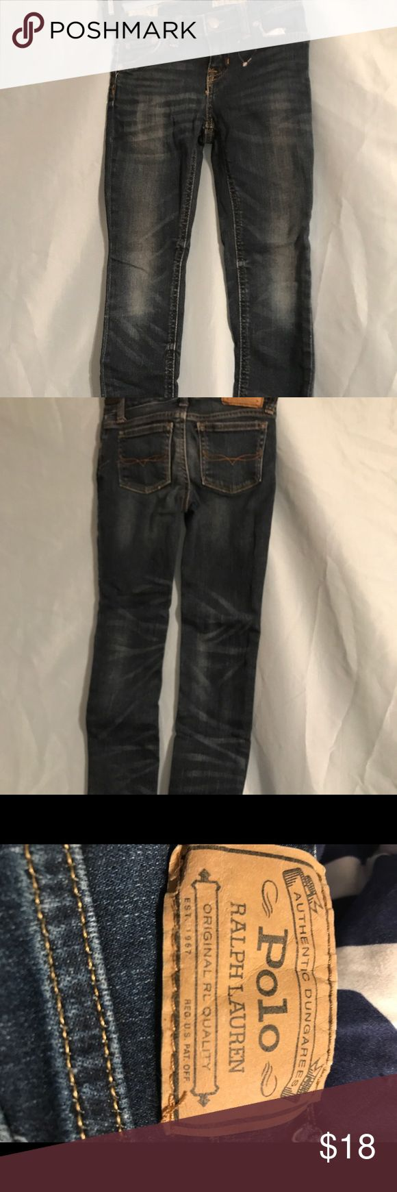 Ralph Lauren Polo Jeans Jemma style Make offer! Ralph Lauren Polo Jeans Jemma, knee hole grinding super skinny dark wash. Polo by Ralph Lauren Bottoms Jeans