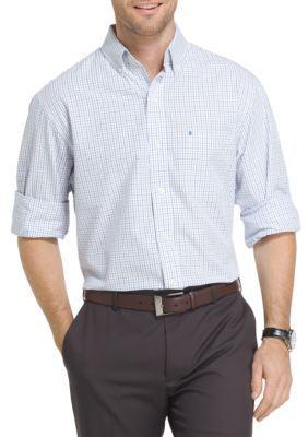Izod Men's Essential Tattersall Shirt - Blue/White - 2Xl