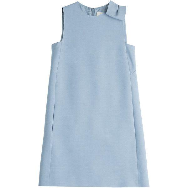 Valentino Wool-Silk Dress (£1,555) ❤ liked on Polyvore featuring dresses, tops, vestidos, blue, silk shift dress, sash belt, back zipper dress, silk dress and blue silk dress