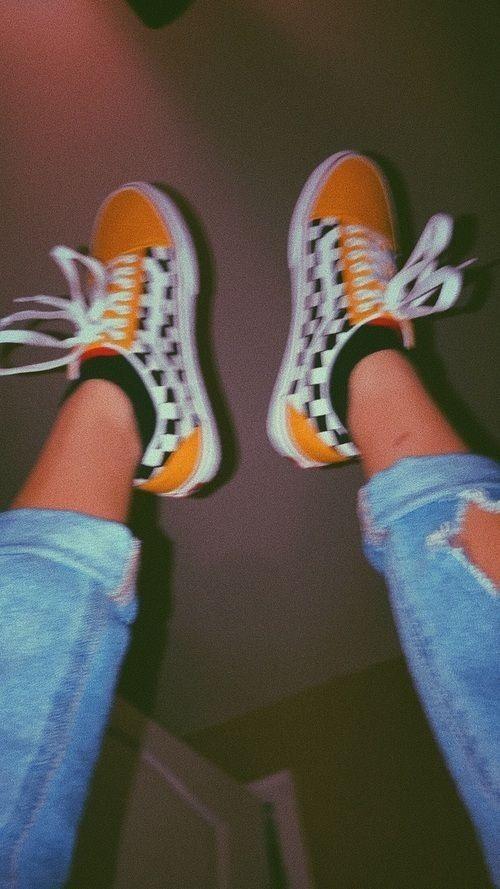 85593d8364 Skater Girl  checkered vans + mustard pop of color + distressed boyfriend  jeans  Californiacool  LA  CA  90s