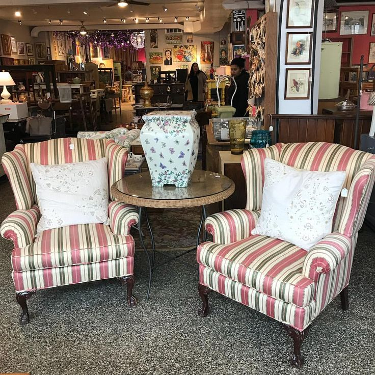 Pair of striped wingback chairs