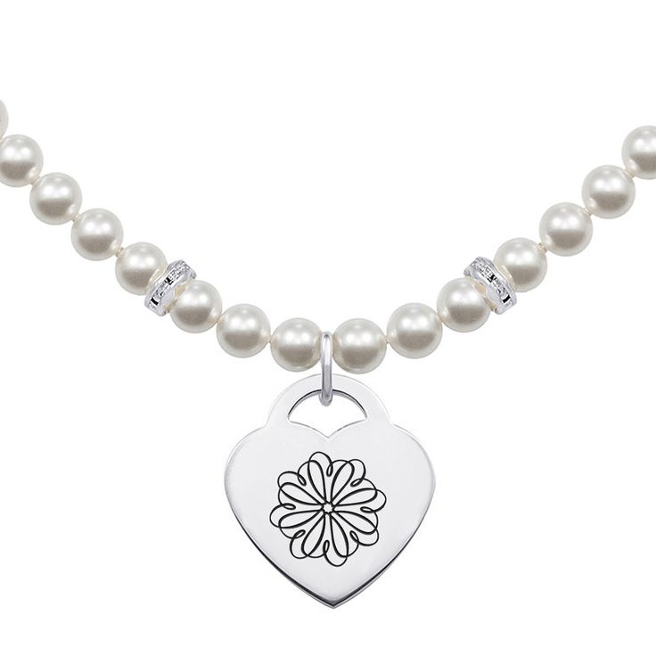 Sigma Kappa Symbol Pearl Necklace With Heart Charm