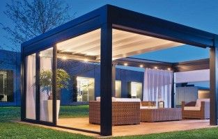 Modern pergola with retractable roof.