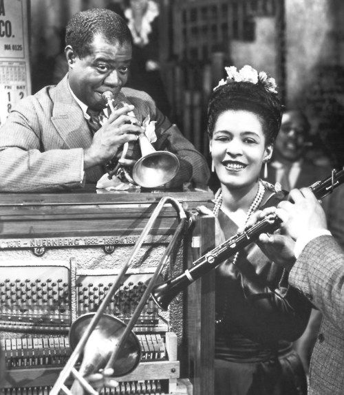 louis armstrong and billie holiday, 1940s