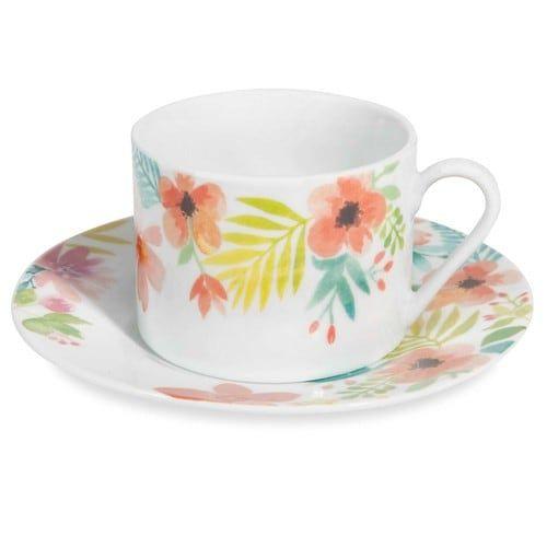 Tazza e piattino da tè in porcellana con motivi floreali HELENA