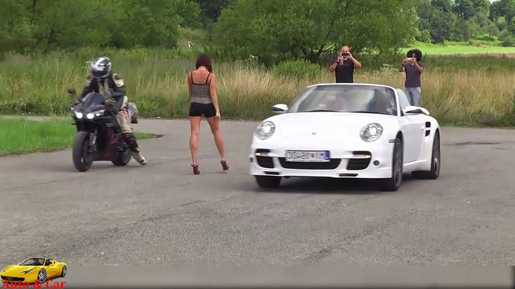 Yamaha YZF R1 vs Porsche 911 Turbo S  Sprint Acceleration &  Exhaust Sou...
