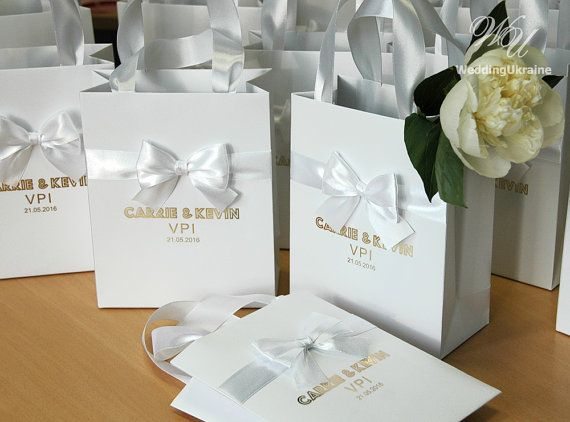 70 Wedding Gift Bags with satin ribbon bow and by WeddingUkraine