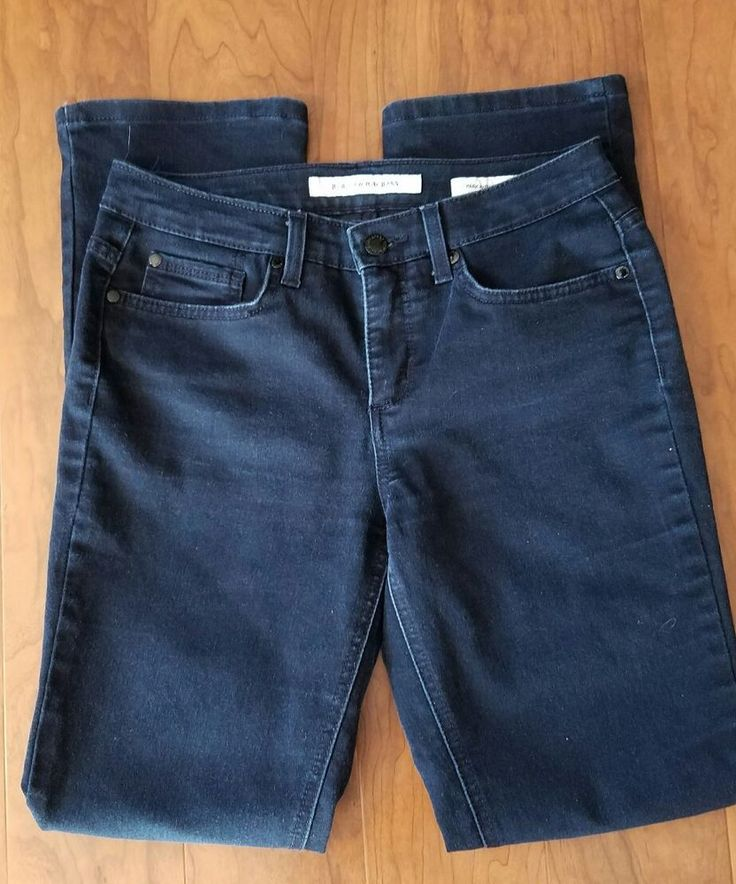 Women Jones New York Jeans Park Avenue Curvy Blue Dark Wash Size 4 Sliming  #JonesNewYork #BootCut