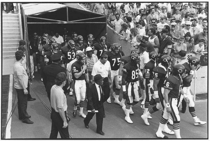 """chicagohistorymuseum: """" Coach Mike Ditka and the Chicago Bears enter Soldier Field, Chicago, September 1988. Photograph by Laurie Leigh Read about the history of the Bears, Soldier Field, and football in Chicago. To purchase a copy E-mail..."""