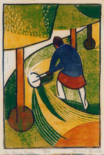 Hierboven ziet u de 'Lawn Mower' door Dorrit Black. ik vind dit een mooie linoleum, omdat er veel kleur en dynamiek in voorkomt.